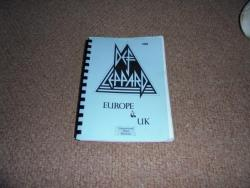 DEF LEPPARD HYSTERIA UK AND EUROPE ITINERARY 1988