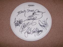 BLACK S CHERRY SIGNED DRUMSKIN